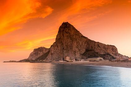 Fels von Gibraltar im Abendrot