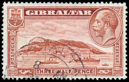 Alte Briefmarke von Gibraltar