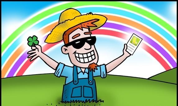 Karikatur eines glücklichen Lottospielers