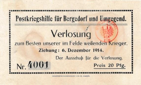 Lottoschein der Postkriegshilfe