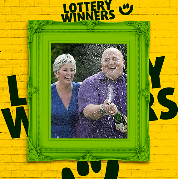 EuroMillions winners Adrian and Gillian Bayford celebrate their win, popping champagne
