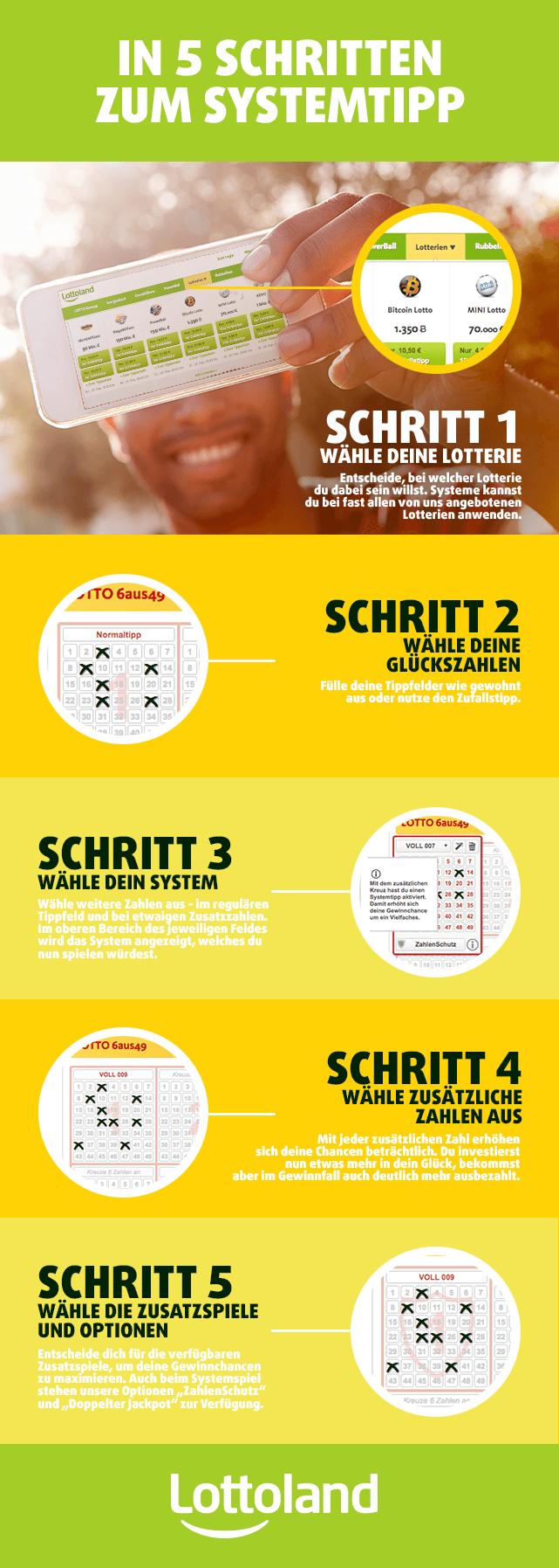 Infografik mit Anleitung zum Spielen mit System