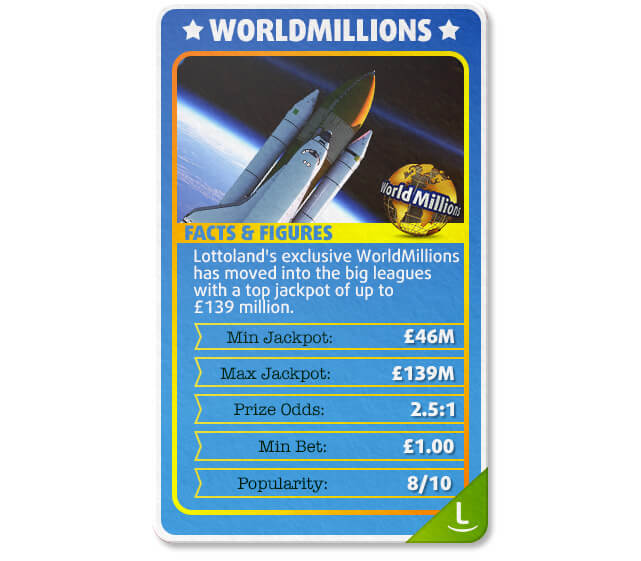 WorldMillions offers a top prize of £150 million