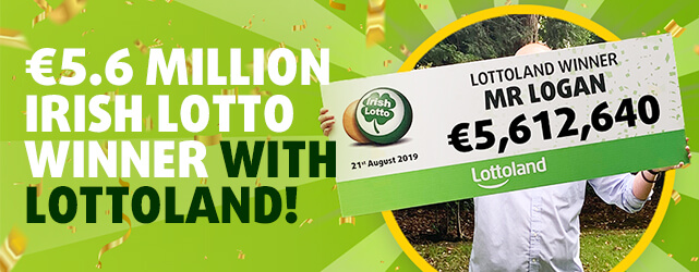Mr Logan holds up winner's cheque for more than five million euros from Irish Lotto win with Lottoland