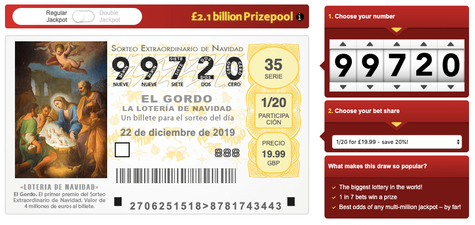 El Gordo ticket for the 2019 Spanish lottery