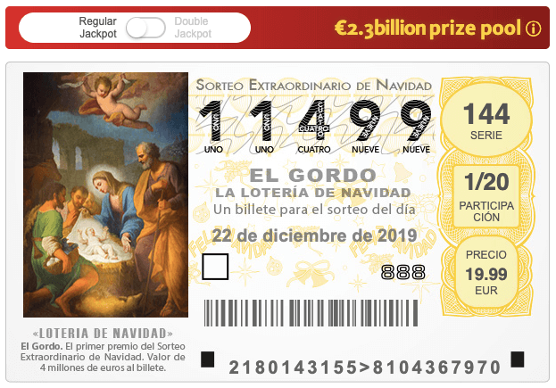Spanish Christmas lottery ticket for 2019