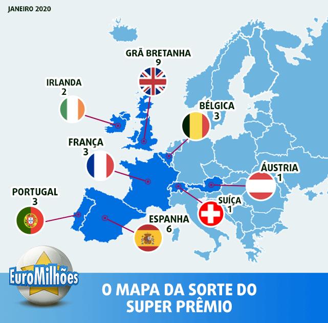 Mapa da sorte da super sorteio da EuroMilhões