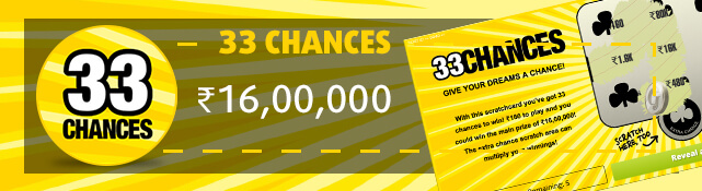 Win the top prize of ₹16,00,000 with the 33 Chances scratchcard