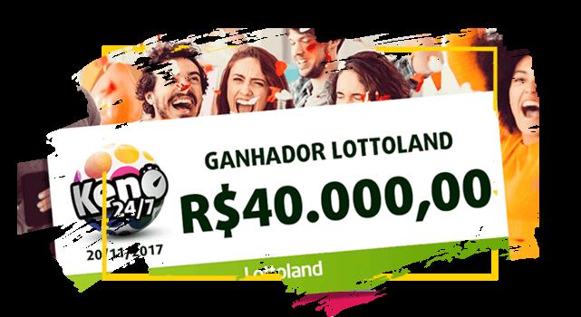 Cheque com o prêmio do  ganhador Odiel do Brasil da loteria Keno 24/7