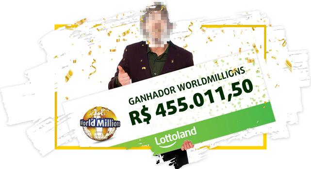 Ganhador anônimo de Brasil na loteria WorldMillions segura cheque com prêmio
