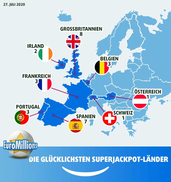 Landkarte der glücklichsten Superjackpot-Länder