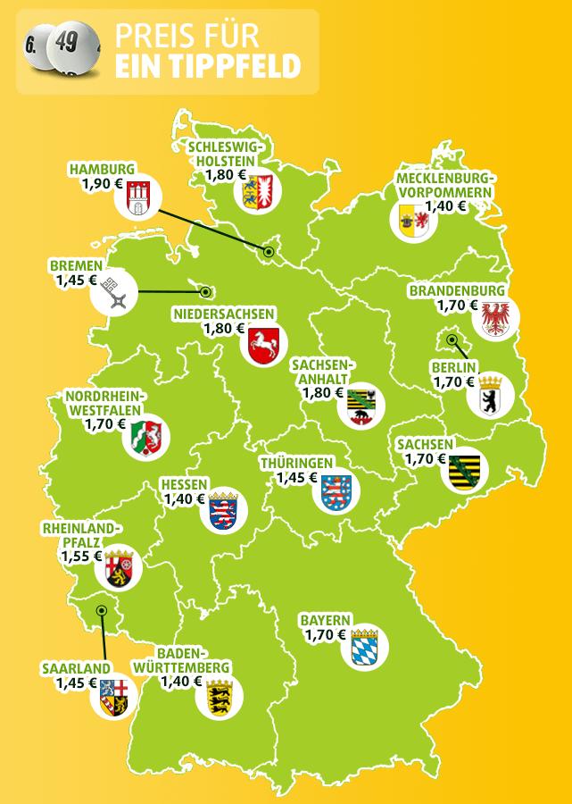 Landkarte mit Lotto Preisen in allen deutschen Bundesländern