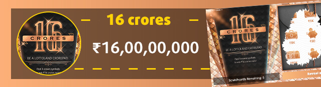 Win the top prize of ₹16,00,00,000 with the 16 Crores scratchcard