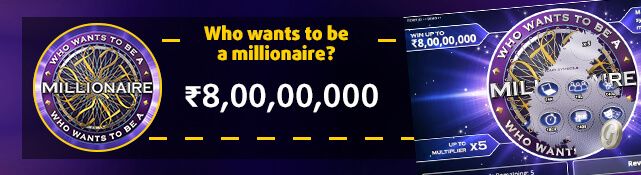 Win the top prize of ₹80,00,00,000 with the Who wants to be a millionaire scratchcard