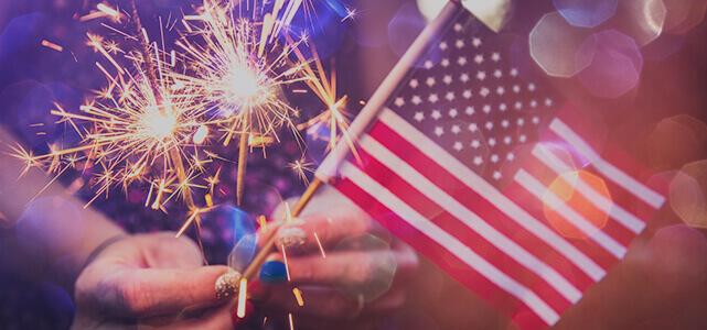 Bandeirinha americana na véspera do ano novo