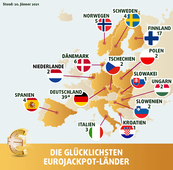 EuroJackpot Gewinner - Landkarte des Glücks