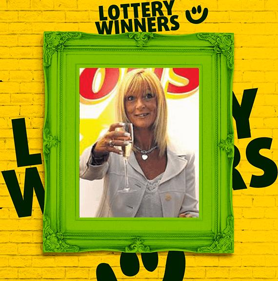 EuroMillions winner Dolores McNamara celebrating her lottery win, drinking champagne