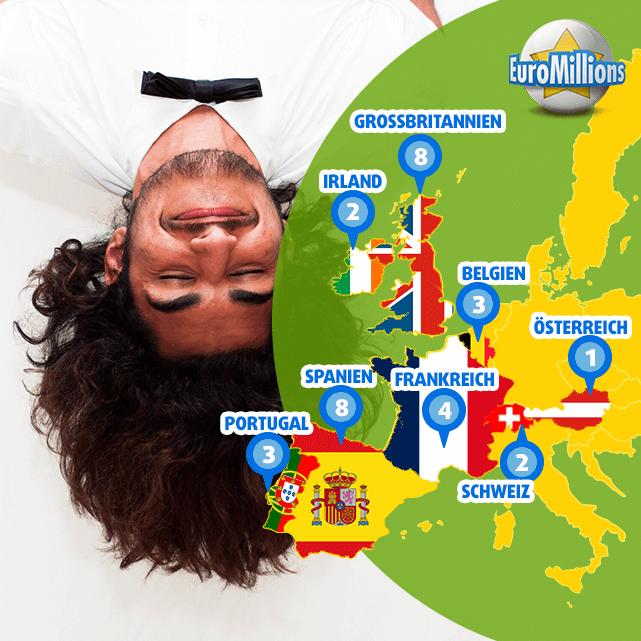 Landkarte der glücklichen EuroMillions Superpot Gewinner