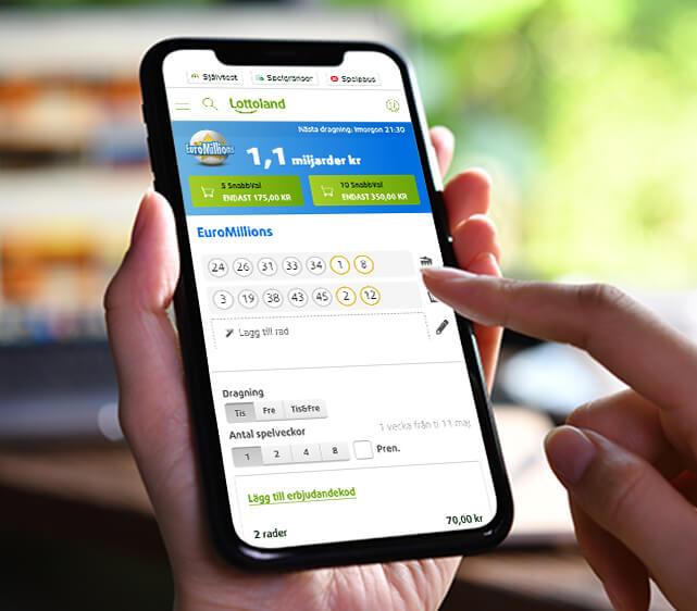 Välj lottonummer och extra tillval i Lottoland-appen.
