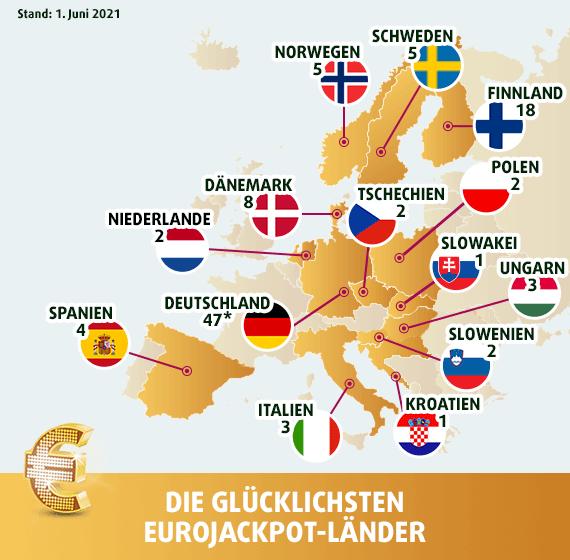 Landkarte der glücklichen EuroJackpot Gewinner