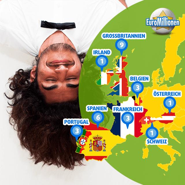 Landkarte der glücklichen EuroMillionen Superpot Gewinner