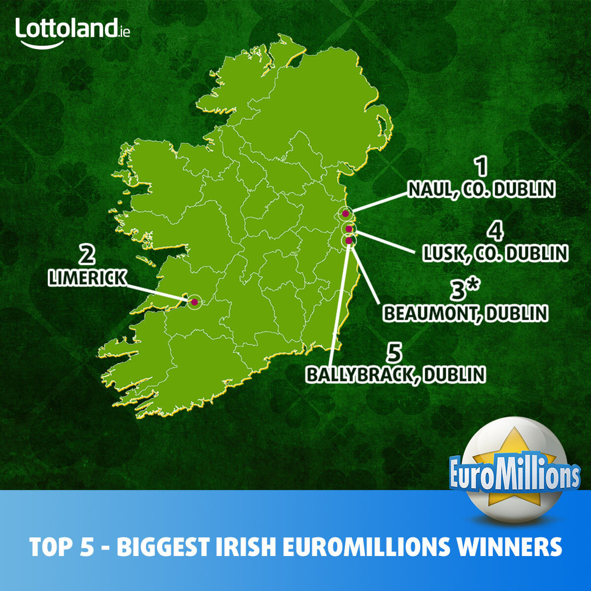 Map showing the location of the top 5 biggest Irish EuroMillions winners