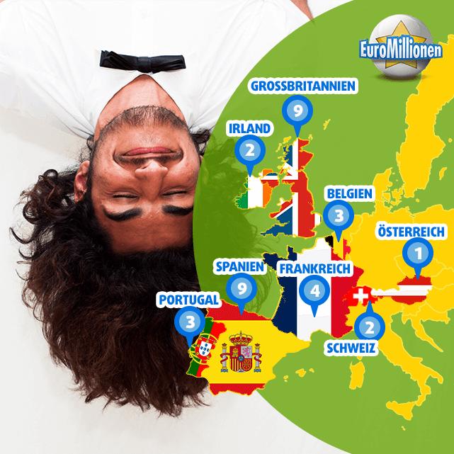 Landkarte der glücklichsten EuroMillionen Superpot Gewinner